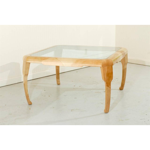 Baker Furniture Company Rare Lacquered Faux Goatskin Dining or Game Table by Alessandro for Baker For Sale - Image 4 of 10