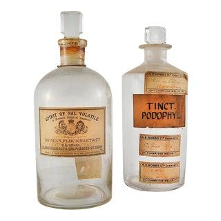 1920s Vintage English Chemist Bottles - a Pair For Sale