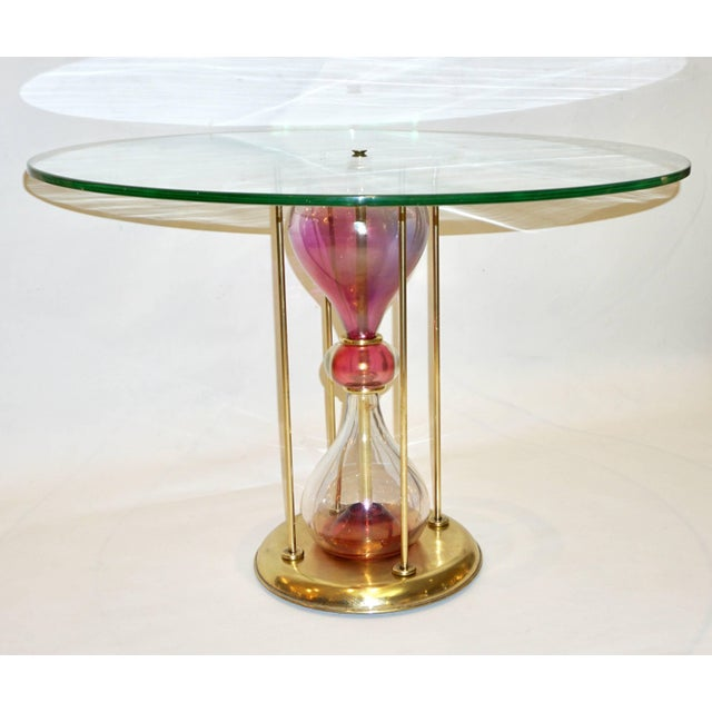 1960s Seguso Vetri d'Arte 1960s Italian Brass and Pink Glass Round Side / End Table For Sale - Image 5 of 11