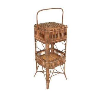 19th Century American Natural Wicker Sewing End Table by Wakefield Rattan Co. For Sale
