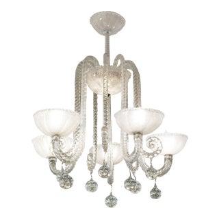 Barovier & Toso Italian Art Deco Murano Glass Chandelier For Sale
