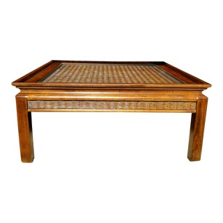 Square Rattan & Glass Coffee Table