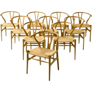 Set of 10 Early Original Hans Wegner Ch24 Wishbone Chairs, Ca. 1955 For Sale