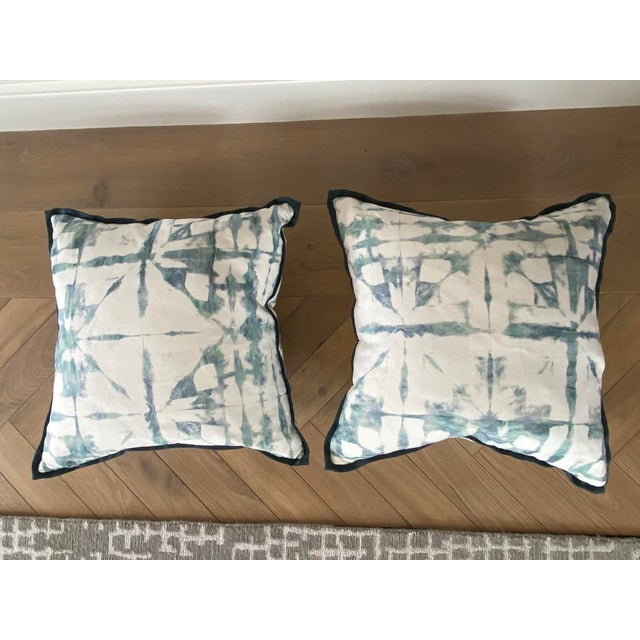Featured in the 2020 San Francisco Decorator Showcase — Custom Aqua Watercolor Throw Pillows - Set of 2 For Sale In San Francisco - Image 6 of 6