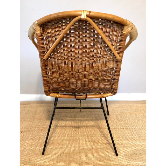 Mid 20th Century Mid Century Italian Rattan & Sculpted Bamboo Boho Chic Chair For Sale - Image 5 of 12