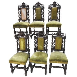 Set of Six Spanish Renaissance Revival Side Chairs For Sale
