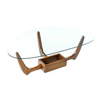 Adrian Pearsall Style Glass Top Solid Oak Base Coffee Table with Planter For Sale