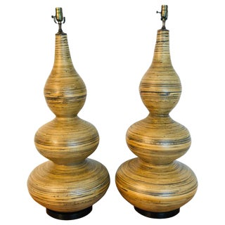 Stunning Pair of Large Lacquered Bamboo Gourd Lamps For Sale