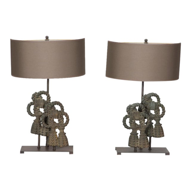 Pair Custom Designed Iron Bow Lamps For Sale
