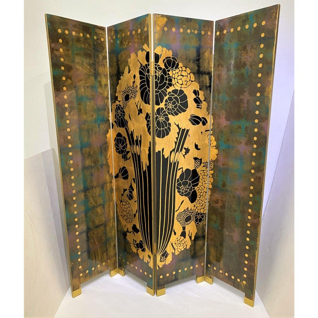 Art Deco Vintage Art Deco E J Ruhlmann Style 4-Panel Room Divider Screen For Sale - Image 3 of 13