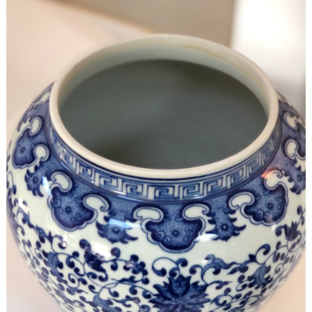 "2010s Blue and White Large Porcelain Ginger Jar With Lid, 16"" Urn For Sale - Image 5 of 12"