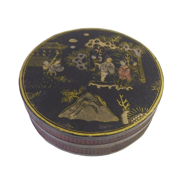 Chinese Black Lacquer Scenery Painting Round Box For Sale