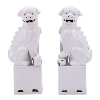 White Porcelain Sitting Foo Dogs - a Pair