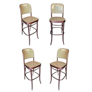 Thonet Number 811 Bentwood Bar Stool W/ Wicker Seat, Set of Four For Sale