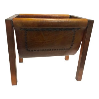 Mid Century Modern Copper Leather Magazine Rack For Sale