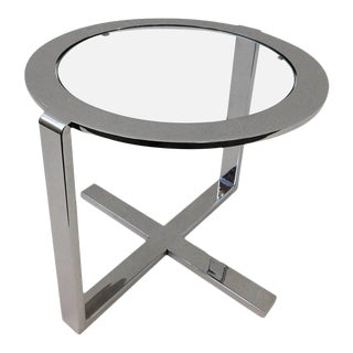 Polished Nickel and Glass Side Table For Sale