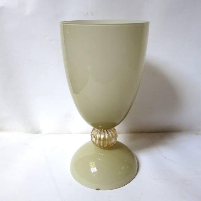 Fabio Ltd Mustard and Gold Infused Murano Glass Urn or Vase by Fabio Ltd (2 Available) For Sale - Image 4 of 8