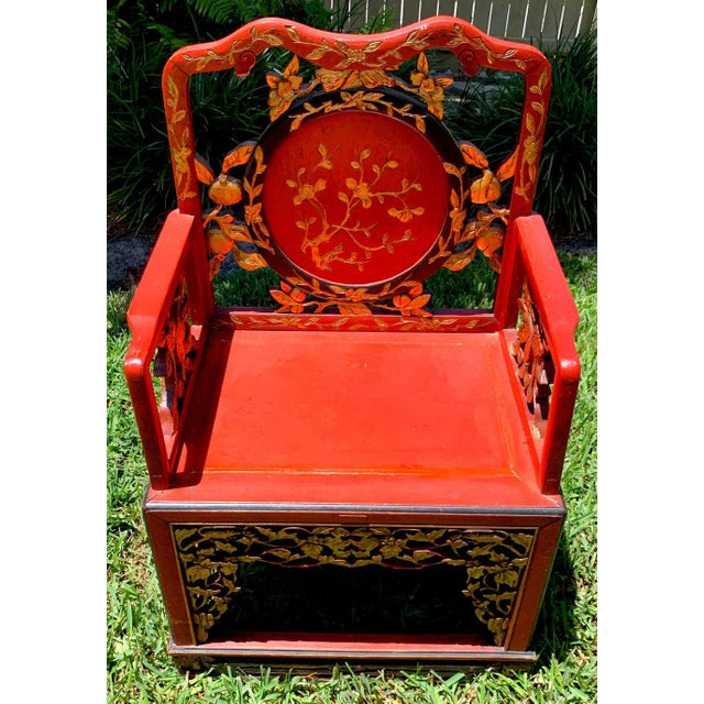 Chinese Red Lacquer and Gilt Throne Chairs - a Pair For Sale - Image 9 of 13