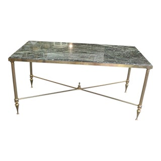 20th Century Neoclassical Green Marble Top Coffee Table For Sale