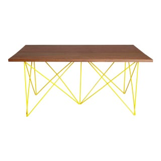 Hayden Outdoor Teak Coffee Cocktail Table, Yellow Powder Coated Stainless Steel Base For Sale