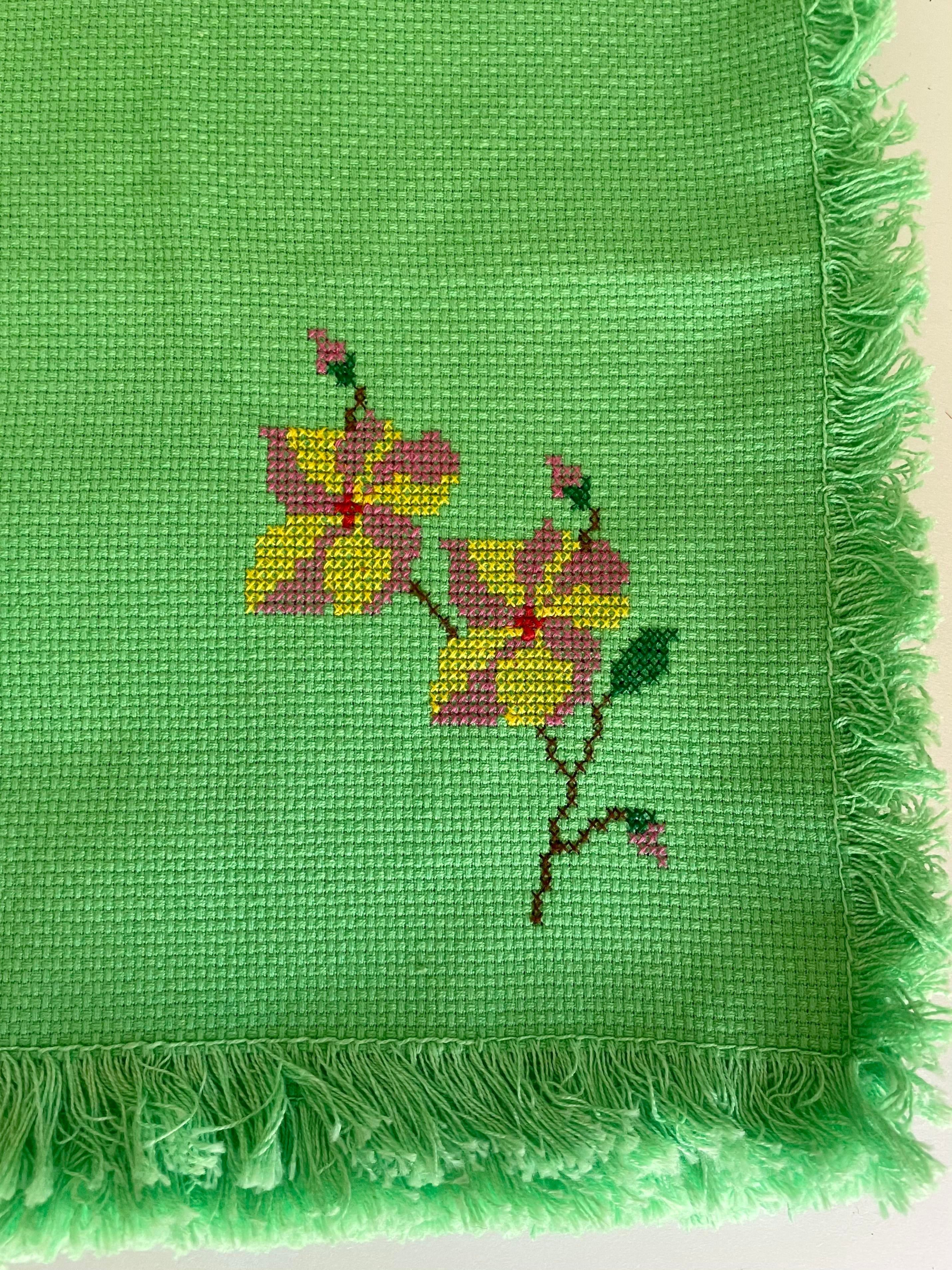 Vintage Linens With Floral Embroidery