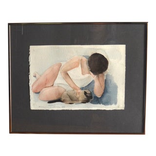Alice Terry (1925-1988) Watercolor Painting 'Girl With Cat' For Sale