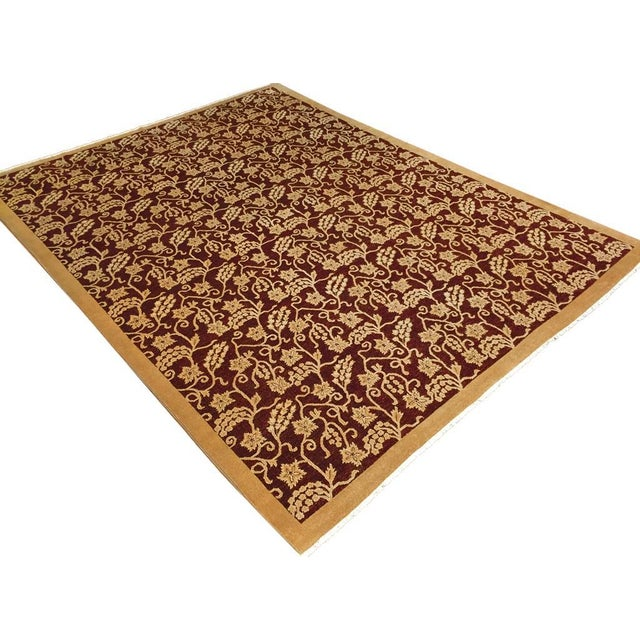 Textile Kafkaz Peshawar Yolanda Red/Gold Wool Rug - 8'11 X 11'11 For Sale - Image 7 of 7