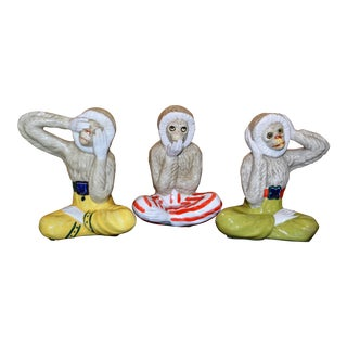 "1970s Italian Majolica Monkey's ""Hear, Speak, See No Evil"" Figurines - Set of 3 For Sale"