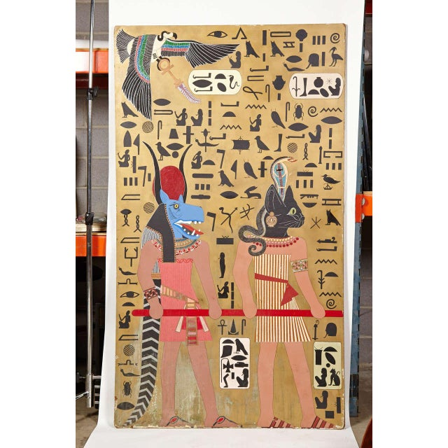 Egyptian Art Deco themed Art panels, triptych book of the dead symbolism. Three gigantic panels, approximately 7.5' tall...