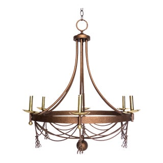 Mid-Century Iron Chandelier For Sale