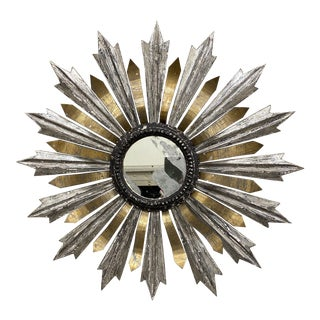 Sunburst Wood and Metal Wall Mirror For Sale