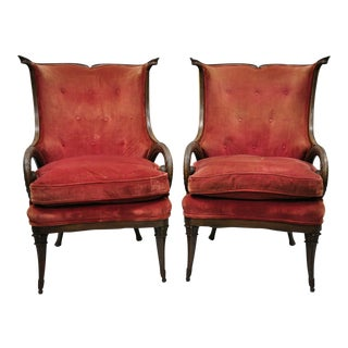 Early 20th Century Carved Plume Spiral Arm Chairs- A Pair For Sale