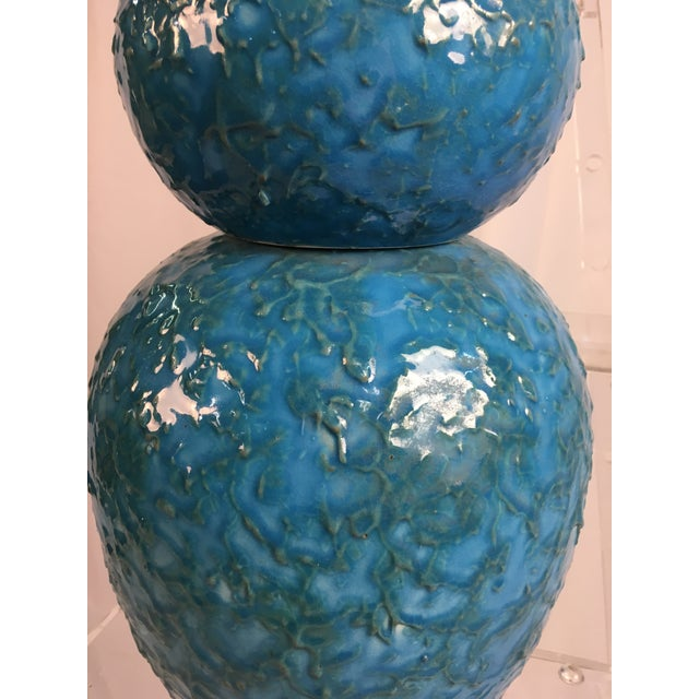 Stunning, large mid-century lamp. Beautiful turquoise color with an amazing texture!