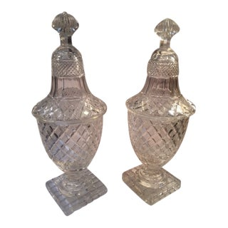 Late 18th Century Fine Cut Irish Glass Covered Jars - a Pair For Sale