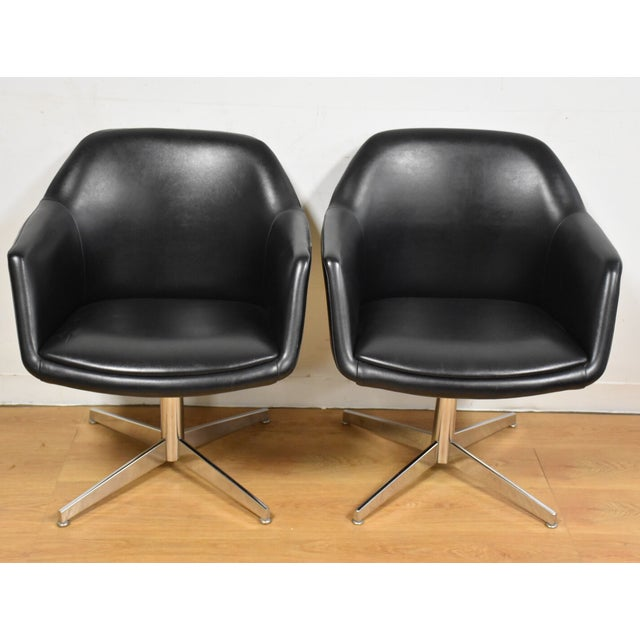 Steelcase Black & Chrome Lounge Chairs - A Pair - Image 3 of 9