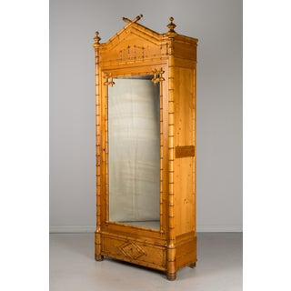 19th Century French Faux Bamboo Armoire with Large Mirror Preview