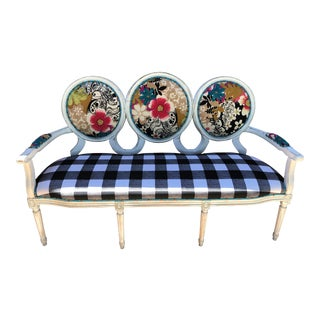 1990s Newly Reupholstered Settee For Sale