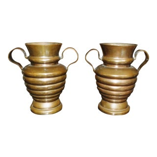 Arts and Crafts Era Heavy Copper Vases With Handles - a Pair For Sale