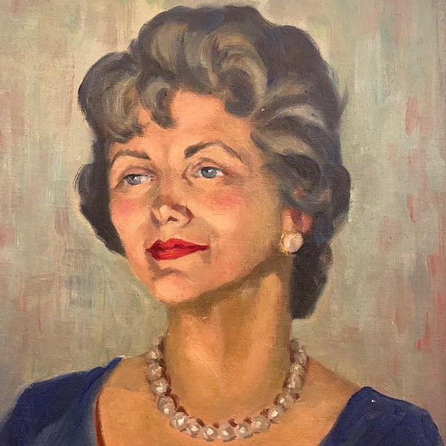 Americana 950s Portrait Painting, Woman With Pearls, Alberta Winchester by Alida Vreeland For Sale - Image 3 of 5
