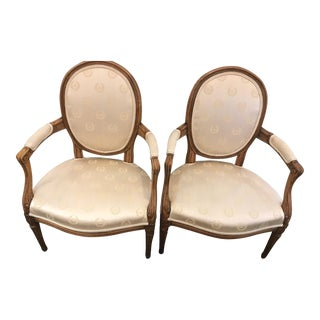 Wood Frame Bergere Chairs - A Pair