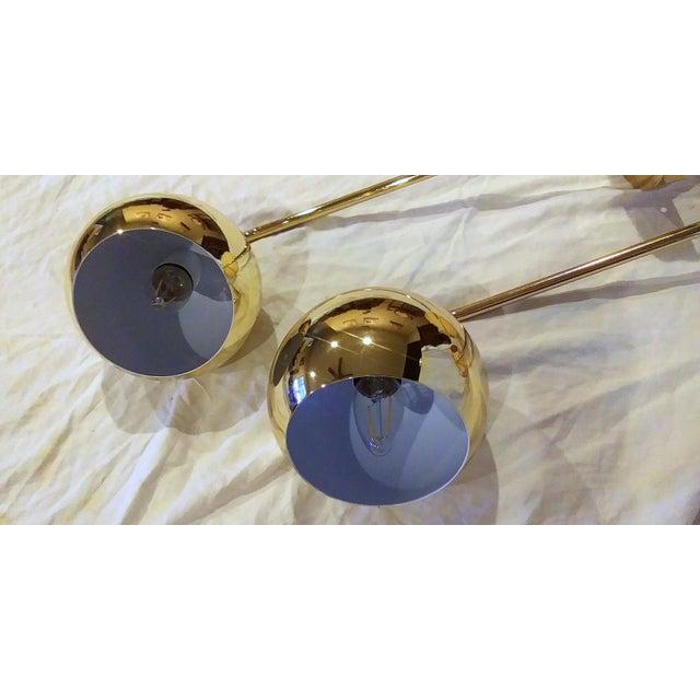 Metal Late 20th Century Long Arm Brass Eyeball Wall Lamps - a Pair For Sale - Image 7 of 10