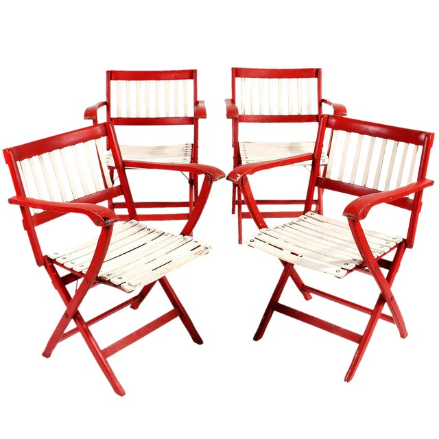 1950s Fratelli Reguitti Folding Deck Chairs - Set of 4 For Sale