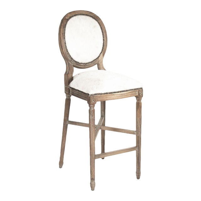 Everest Medallion Cowhide Counter Stool in White For Sale