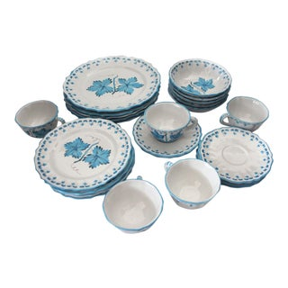 1960s Italian Terra Cotta Hand Painted Dish Set - 25 Pieces