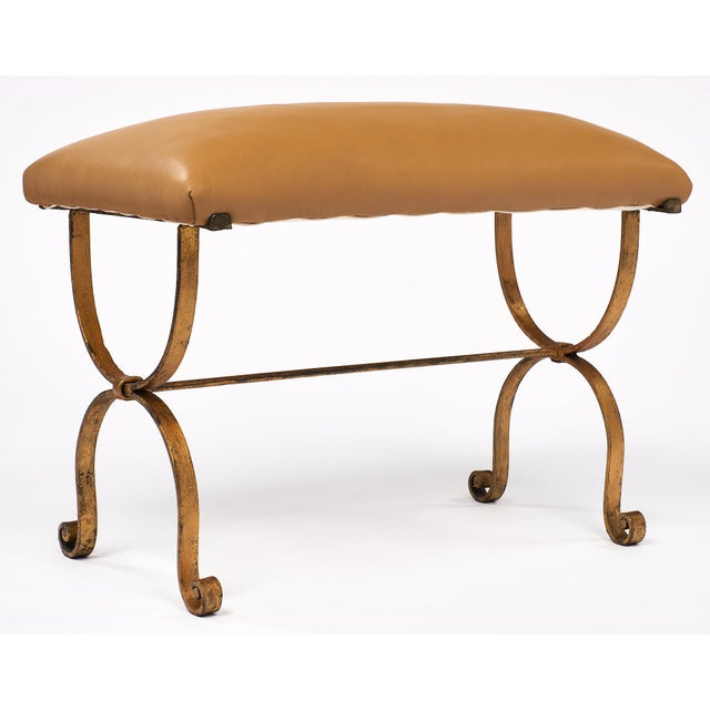 Art Deco Vintage Spanish Curule Style Bench For Sale - Image 3 of 10