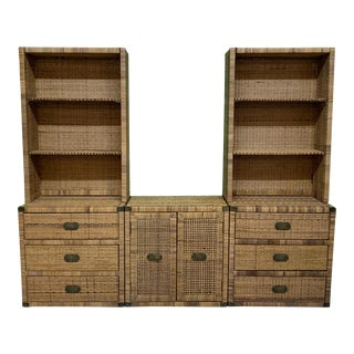 Wicker and Brass 3-Piece Wall Unit For Sale