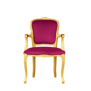 Vintage Pink and Gold Louis XV Style Armchair For Sale