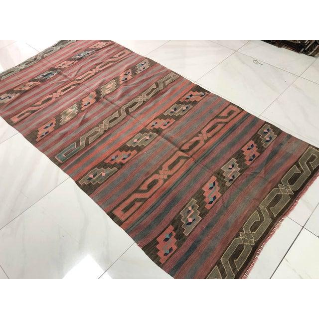 Contemporary Turkish Tribal Handmade Kilim Rug - 4′ × 8′1″ For Sale - Image 3 of 11
