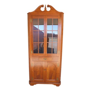 "Vintage Custom Black Walnut 1pc Corner Cabinet Chippendale Style 90""h For Sale"