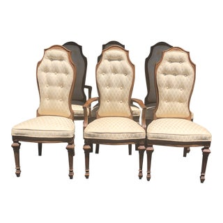 Vintage Cane High Back Dining Chairs - Set of 6 For Sale